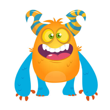 Cute cartoon silly horned monster. Vector troll or gremlin character