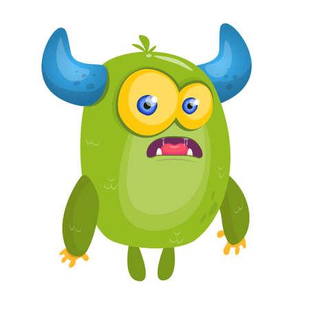 Cartoon surprised green horned monster. Halloween vector illustration Illustration