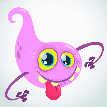 Lovely  cartoon flying monster blob. Halloween vector illustration