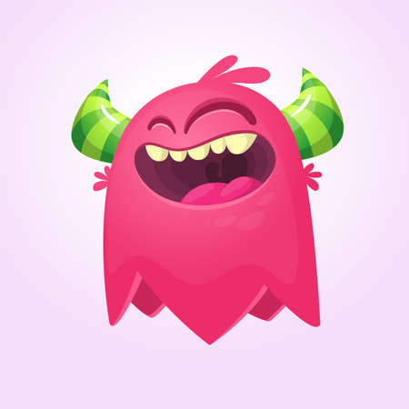 Happy cartoon monster. Laughting monster face emotion. Halloween vector illustration