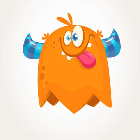 Cute orange horned cartoon monster. Funny flying monster showing tongue. Halloween vector illustration