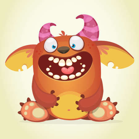 Happy cartoon fluffy monster. Vector character