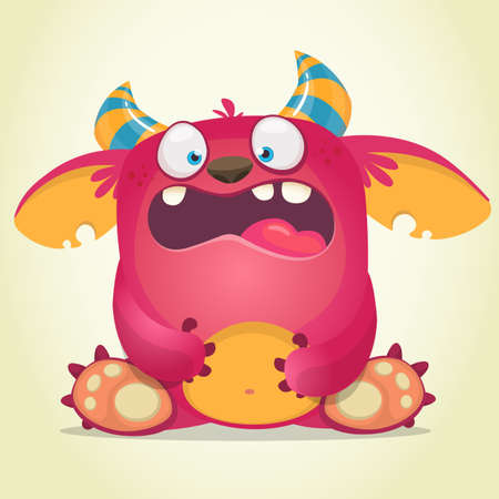 Scared cartoon pink monster. Vector character illustration