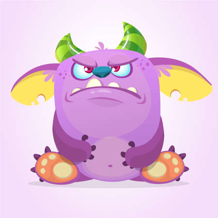 Angry cartoon goblin monster. Vector illustration. Illustration