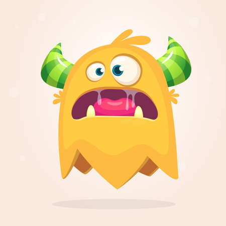 Angry orange cartoon monster with horns. Big collection of cute monsters. Halloween character. Vector illustrations. Good for book illustration, magazine prints or journal article 向量圖像