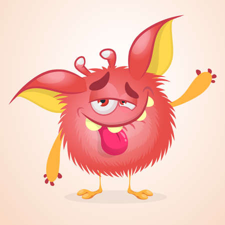 Pleased funny monster cartoon. Vector illustration