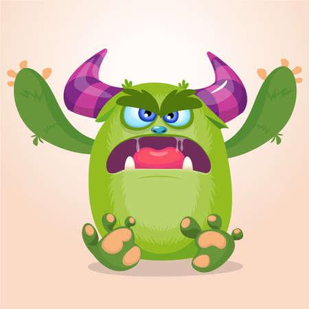 Cartoon angry gremlin. Halloween vector illustration of furry monster