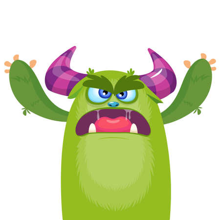 Cartoon angry monster. Halloween vector illustration 向量圖像