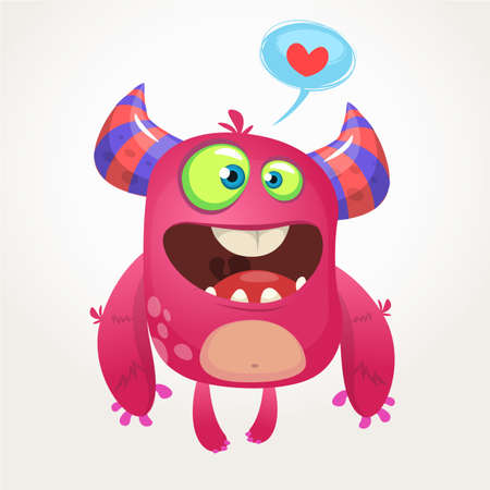 Cartoon pink cool monster in love. St Valentines vector illustration of  loving monster Illustration