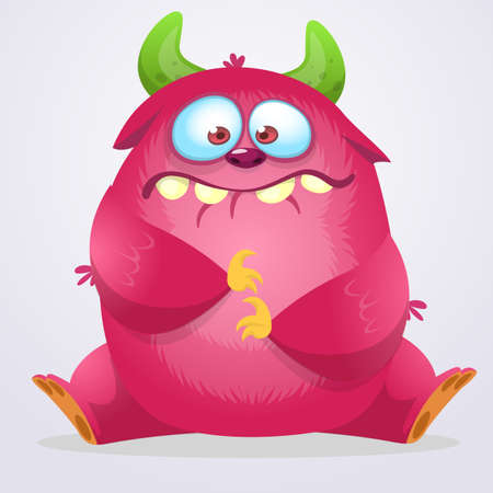 Happy cartoon monster. Halloween pink furry monster. Big collection of cute monsters. Halloween character. Vector illustrations. Good for book illustration, magazine prints or journal article