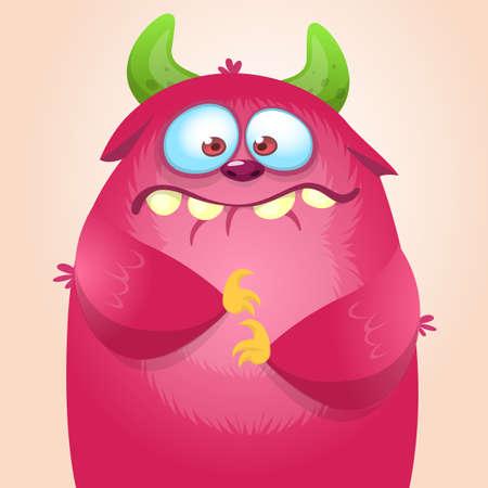 Happy cartoon monster. Vector Halloween pink furry monster