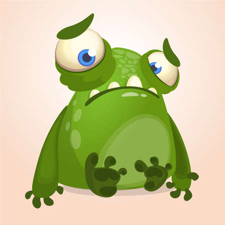 Cute cartoon monster. Halloween vector illustration of upset monster alien 向量圖像