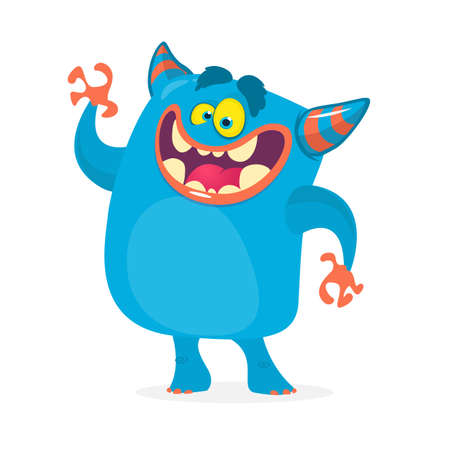 Cute cartoon troll character. Vector monster character for Halloween Çizim