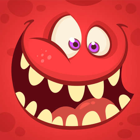 Cartoon monster face isolated . Vector Halloween happy monster square avatar. Funny monster mask Иллюстрация