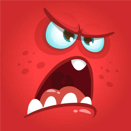 Funny angry cartoon monster face. Prints design for t-shirts