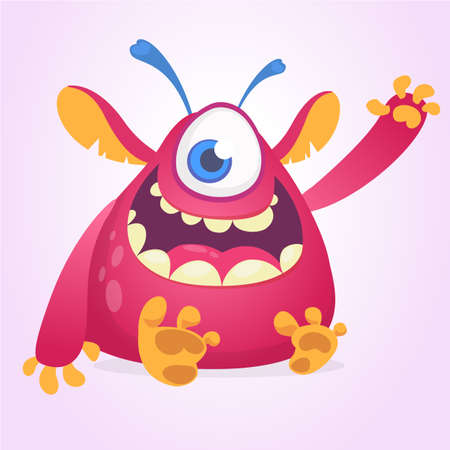 Happy cartoon monster mascot. Halloween vector pink alien with one eye waving