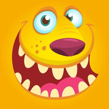 Halloween illustration goblin or troll. Vector illustration of furry monster face avatar