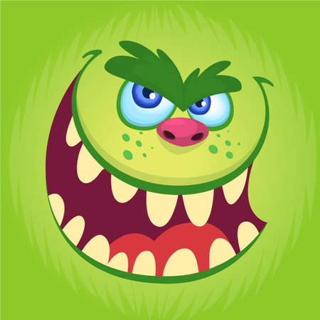 Cartoon monster face isolated . Vector Halloween happy monster square avatar. Funny troll, gremlin or goblin face