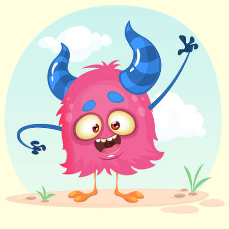 Cartoon happy monster. Vector illustration isolated on simple background