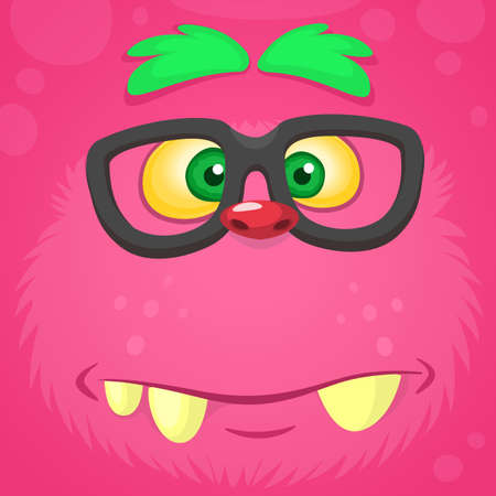 Smart pink monster face. Vector monster square avatar
