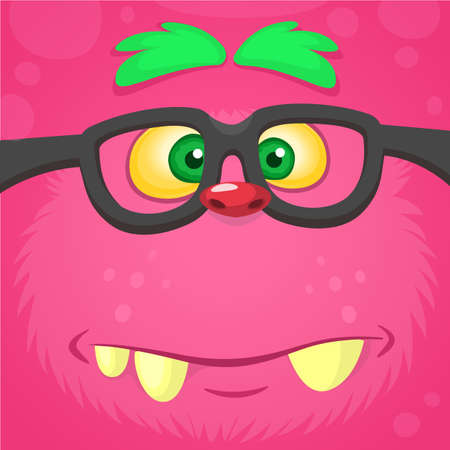 Cartoon smart monster face wearing glasses. Halloween vector illustration of furry pink monster