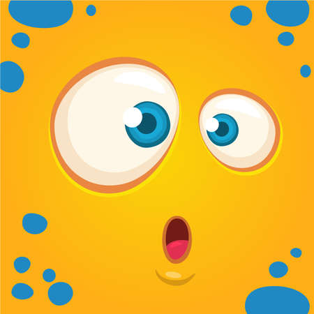 Cartoon monster face surprised expression. Prints design for t-shirts Illustration