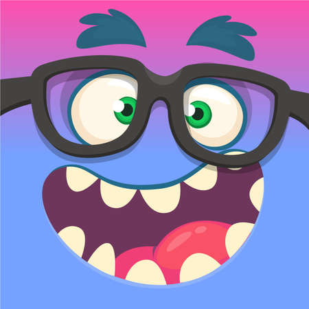 Cartoon monster face wearing eyeglasses. Vector Halloween funny blue and pink nerdy monster square avatar