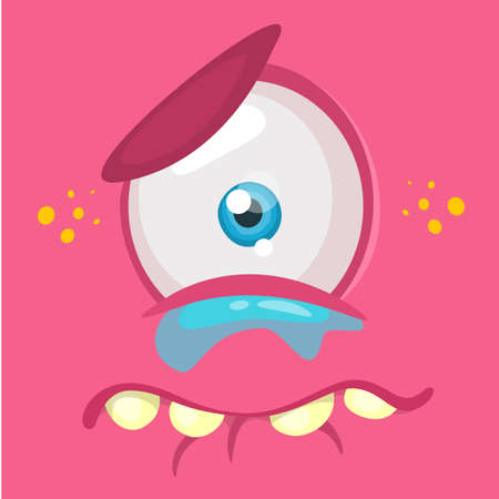 Crying cartoon monster face avatar. Vector Halloween pink sad monster with one eye Illustration