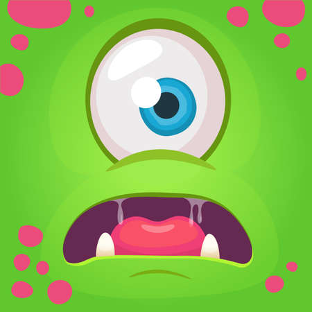 Cartoon angry monster face avatar. Vector Halloween green monster with one eye. Monster mask