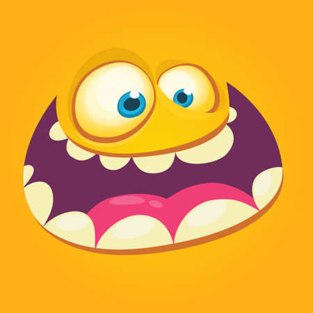 Cartoon monster face. Vector Halloween orange cool monster avatar with wide smile. Prints design for t-shirts
