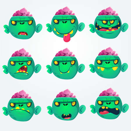 Cute cartoon zombie head scary spooky emotion icons set. Illustrations collection isolated on white background. Halloween avatars and mask simple gradient. Vector. Illustration