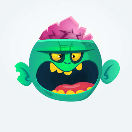 Funny and cool green zombie cartoon. Halloween character. Vector illustration
