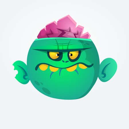 Green zombie cartoon. Halloween character. Vector illustration