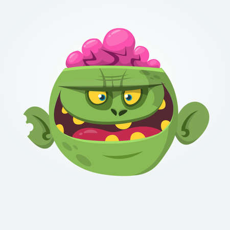Cartoon green zombie with pink brains outside of the head. Halloween character. Vector illustration