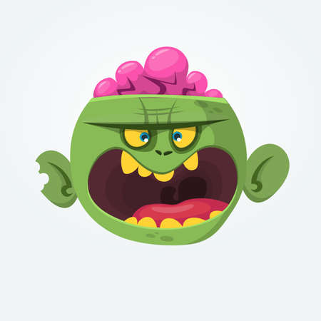 Green zombie with pink brains outside of the head. Halloween character. Vector flat illustration Ilustração