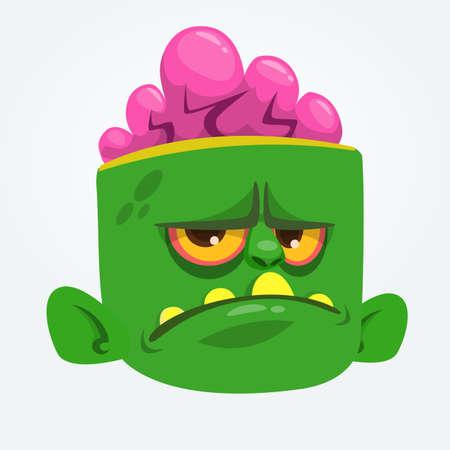 Cool Zombie Head Cartoon . Halloween vector illustration Illustration
