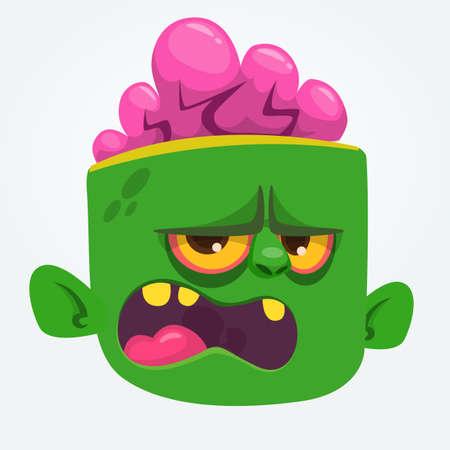 Funny Zombie Head Cartoon Character. Halloween vector illustration