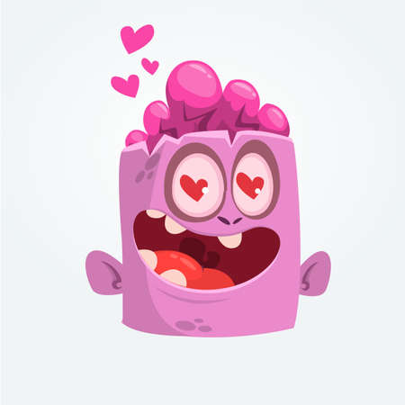 Cartoon pink zombie in love. St. Valentines Day vector illustration