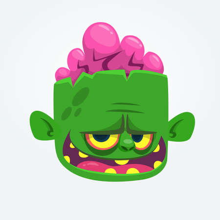 Green zombie with pink brains outside of the head. Halloween character. Vector cartoon  illustration 向量圖像