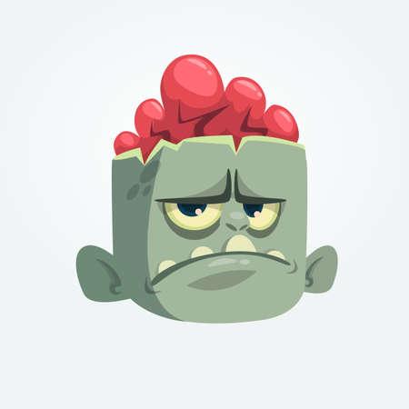 Cabeza gris divertida del zombi de la historieta con la emoción trastornada. Ilustración vectorial de Halloween Foto de archivo - 85469858