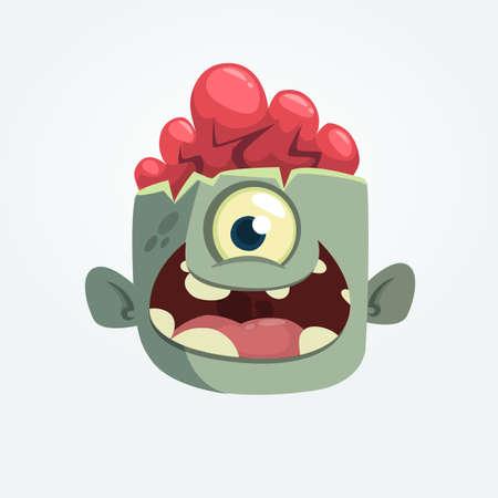 Dibujos animados de una cabeza de zombie eyey sonriendo. Ilustración vectorial de halloween Foto de archivo - 85469856