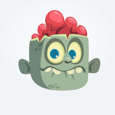 Dibujos animados gracioso cabeza de zombie gris sorprendió expresión. Ilustración vectorial de Halloween Foto de archivo - 85469859