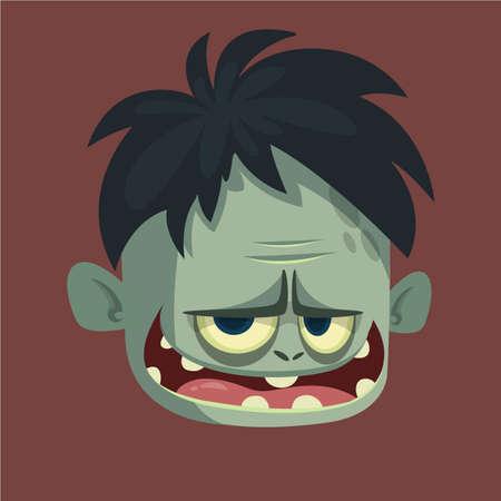 Vector la imagen de dibujos animados de un zombie gris divertido con cabeza grande asustando a alguien en un fondo oscuro. Apocalipsis; muerto; Víspera de Todos los Santos. Foto de archivo - 85469866