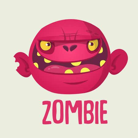 Cute cartoon zombie head. Halloween vector illustration isolated