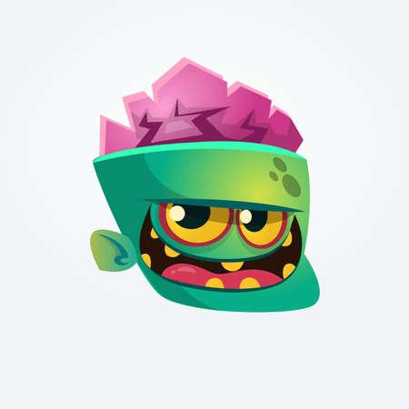 Zombie Head Cartoon Character. Halloween vector illustration