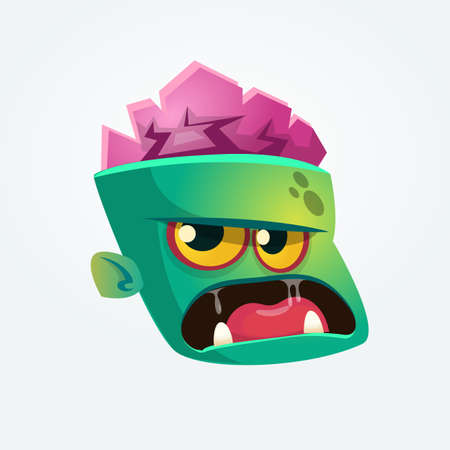 Cute Zombie Head Cartoon Character. Zombie growling and yelling vector illustration Illustration
