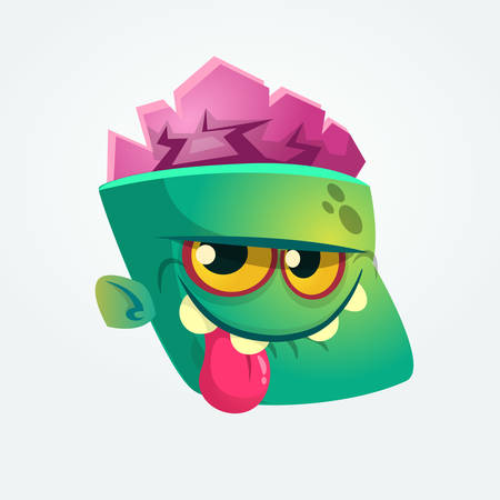 Cute Happy Zombie Head Cartoon Character showing tongue and smiling. Vector illustration