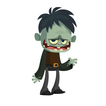 Vector cartoon image of a funny green zombie business suit isolated on a light gray background Halloween vector illustration.