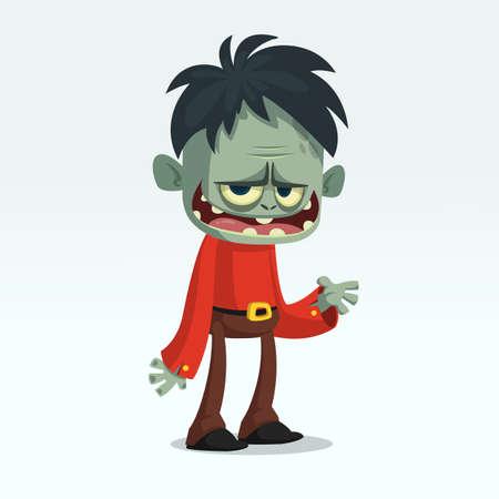 Cartoon funny green zombie  growling. Halloween vector illustration of monster