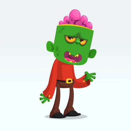 Cartoon funny green zombie  growling. Halloween vector illustration of monster